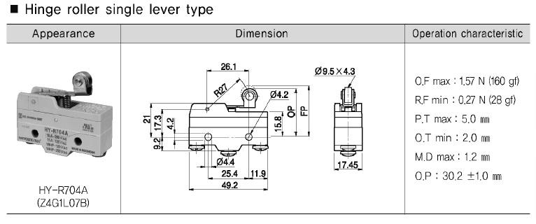 میکرو سوئیچ تیغه ای قرقره دار کوتاه هانیانگ با کد   HY-R704A