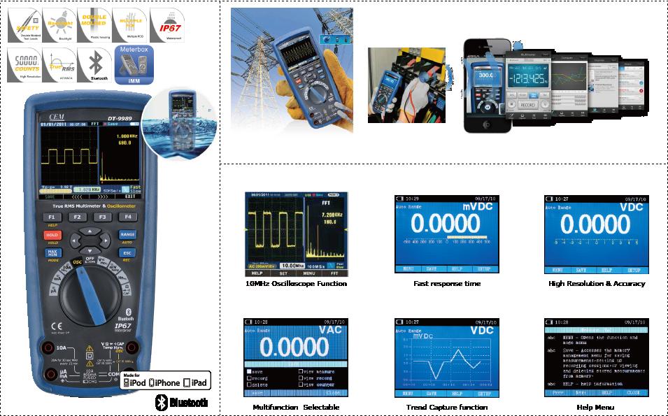 CEM DT-9989 True RMS Multimeter & Oscillometer